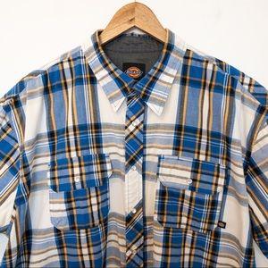 Dickies Men Size 2XL Shirt Plaid Pearl Snaps